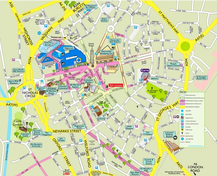 Leicester tourist attractions map Maps Pinterest Leicester and
