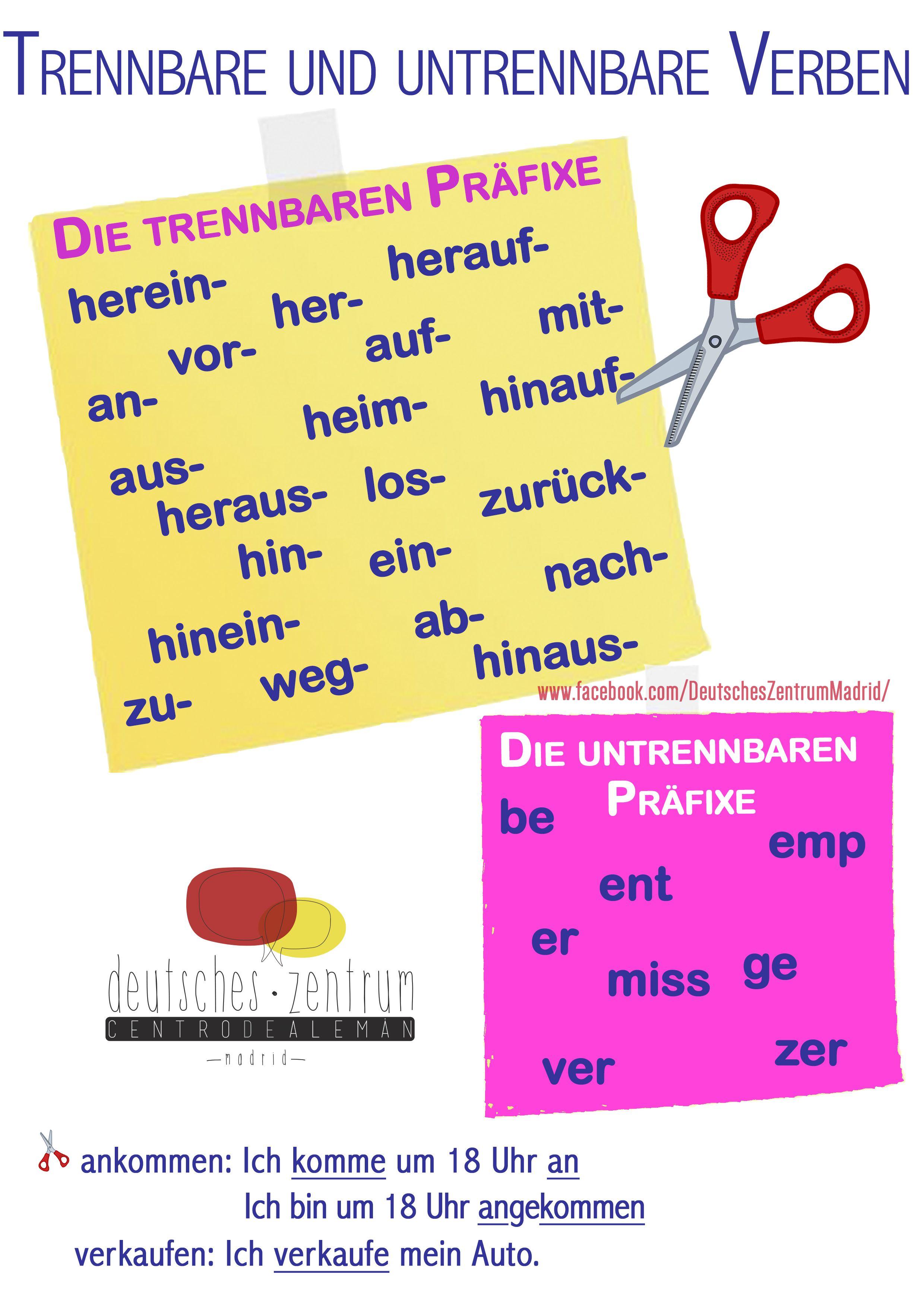 Trennbare Verben DAF Deutsch Wortschatz Grammatik German Alemán ...