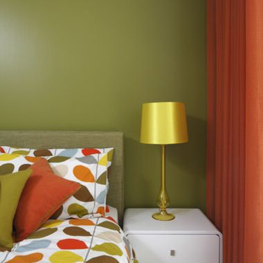 Olive Walls Orange Accent Wall Retro Olive Green And