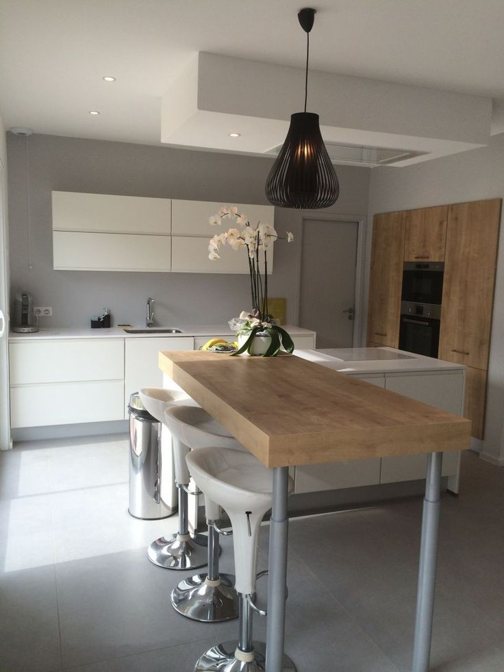 10 idées de cuisines aux meubles laqués blancs et bois cuisine