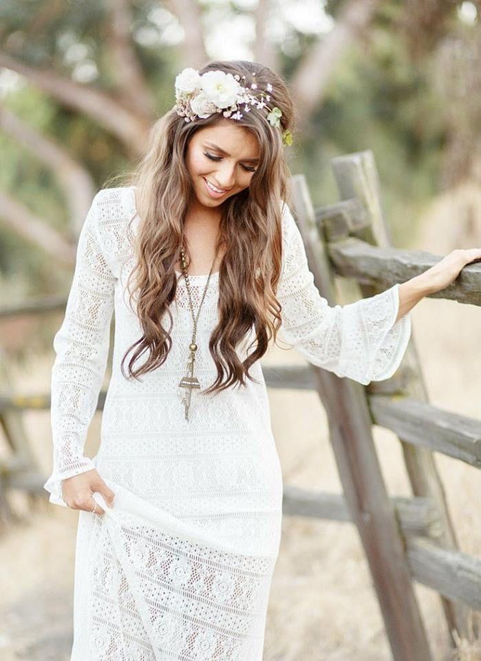 summer long maxi lace dress | Boho bridal hair, Bohemian ...