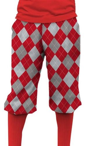 Loudmouth Golf Mens Golf Knickers - Red & Gray.  Buy it @ ReadyGolf.com