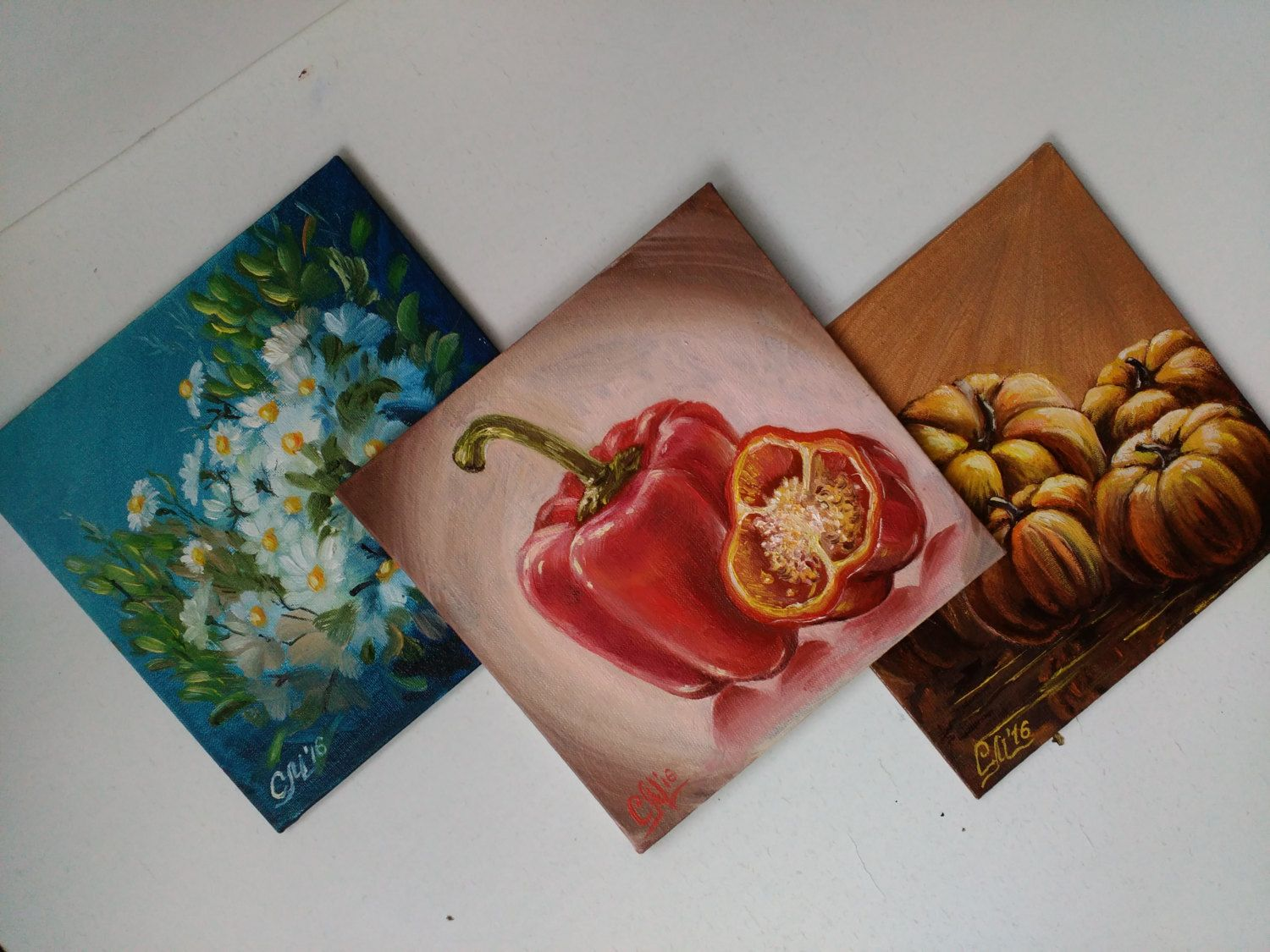 Oil painting Small gift womens gift wife gift set painting OOAK art ...