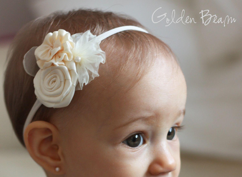 flower girl headband three ivory flowers bouquet by goldenbeam