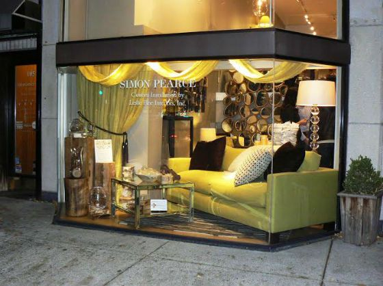 Simon Pearce Window Display Designed By Leslie Fine Color Chartreuse Pinterest Window