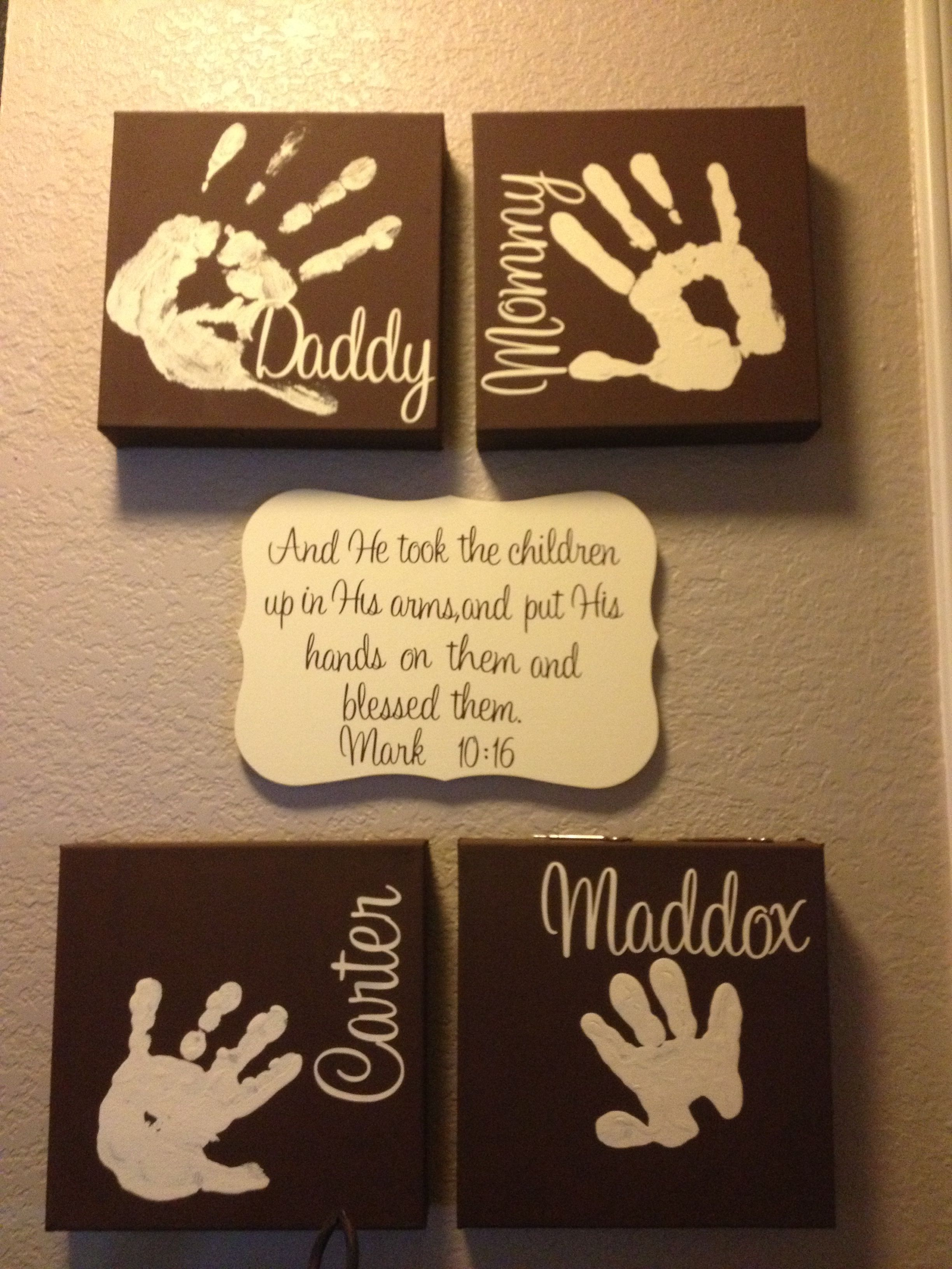 Completed family handprints crafts for maddock pinterest art