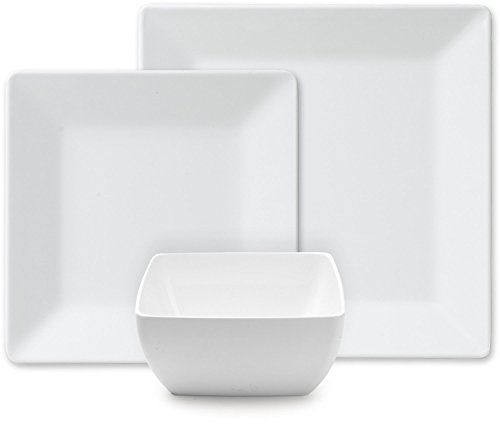Melmac Dinner Plates. Q Squared Diamond White Collection Square 12-Piece Professional Grade  sc 1 st  Pinterest & Melmac Dinner Plates. Q Squared Diamond White Collection Square 12 ...