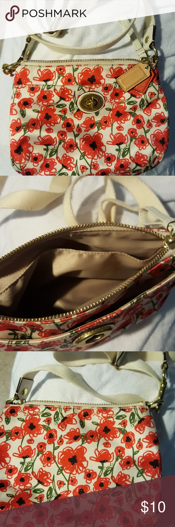 Coach Red Flower Crossbody Bag White With Red Flowers 9 Wide 7