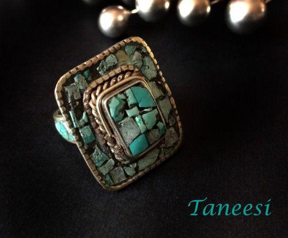 Bohemian Turquoise RingFREE ShippingVintage by taneesijewelry, $49.99