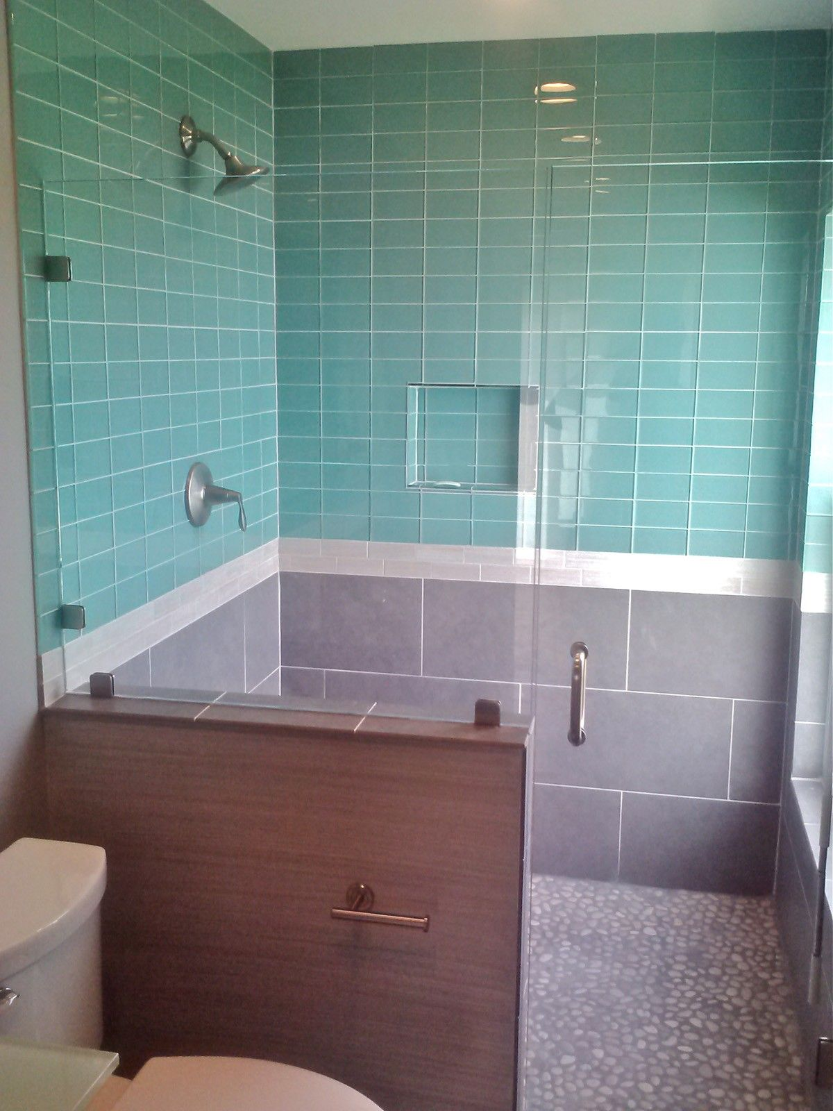 Lush Pool 3x6 Aqua Blue Glass Subway Tile Shower Wall Installation ...