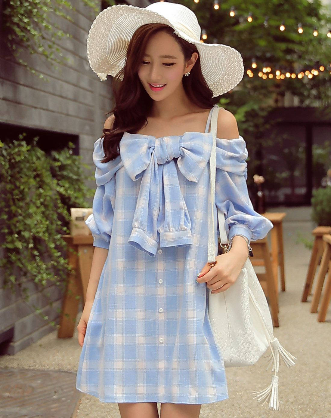 #AdoreWe #VIPme A-Line Dresses - Designer Dabuwawa Blue Off Shoulder Bowknot Plaid & Check Mini Dress - AdoreWe.com