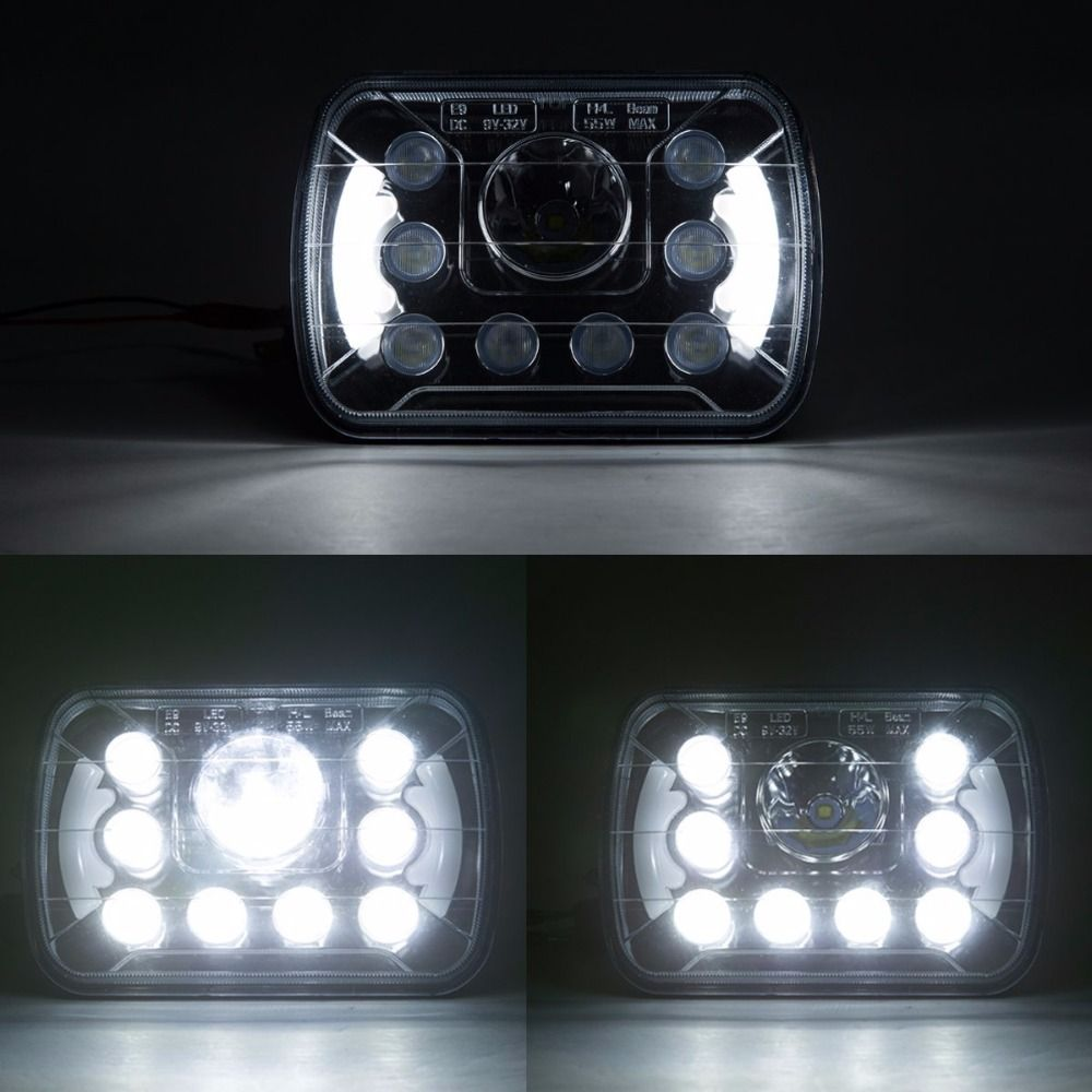 1 7x6 5x7 55 H4 Jeep Fog Light Plug Pair Rectangular Inch Led Headlights Bulb Driving For Truck Offroad With Angel Eyes