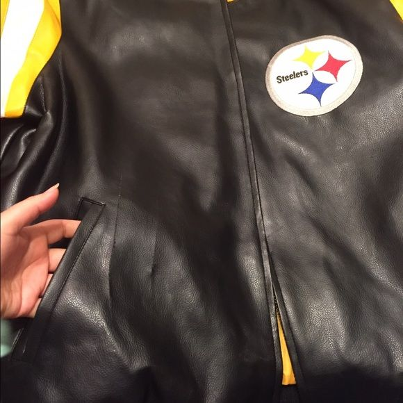 """Steelers jacket. NOT For Sale Flawed Received it, i accepted but then on closer inspection i saw the flaws and same day contacted posh but it was too late for me. I had lost my money. Should not have accepted without checking it throughly but i was excited to have bought something for my hubby, lesson learned. I wouldn't have minded the small peelings but the two slashes are too noticeable. He didn't even get to wear it out or nothing happened to it """"since then"""" because i contacted posh the…"""