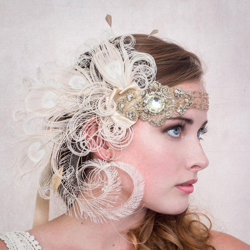 Flapper Headband Antique Gold Nymph Ivory Peacock Feather Headband ...