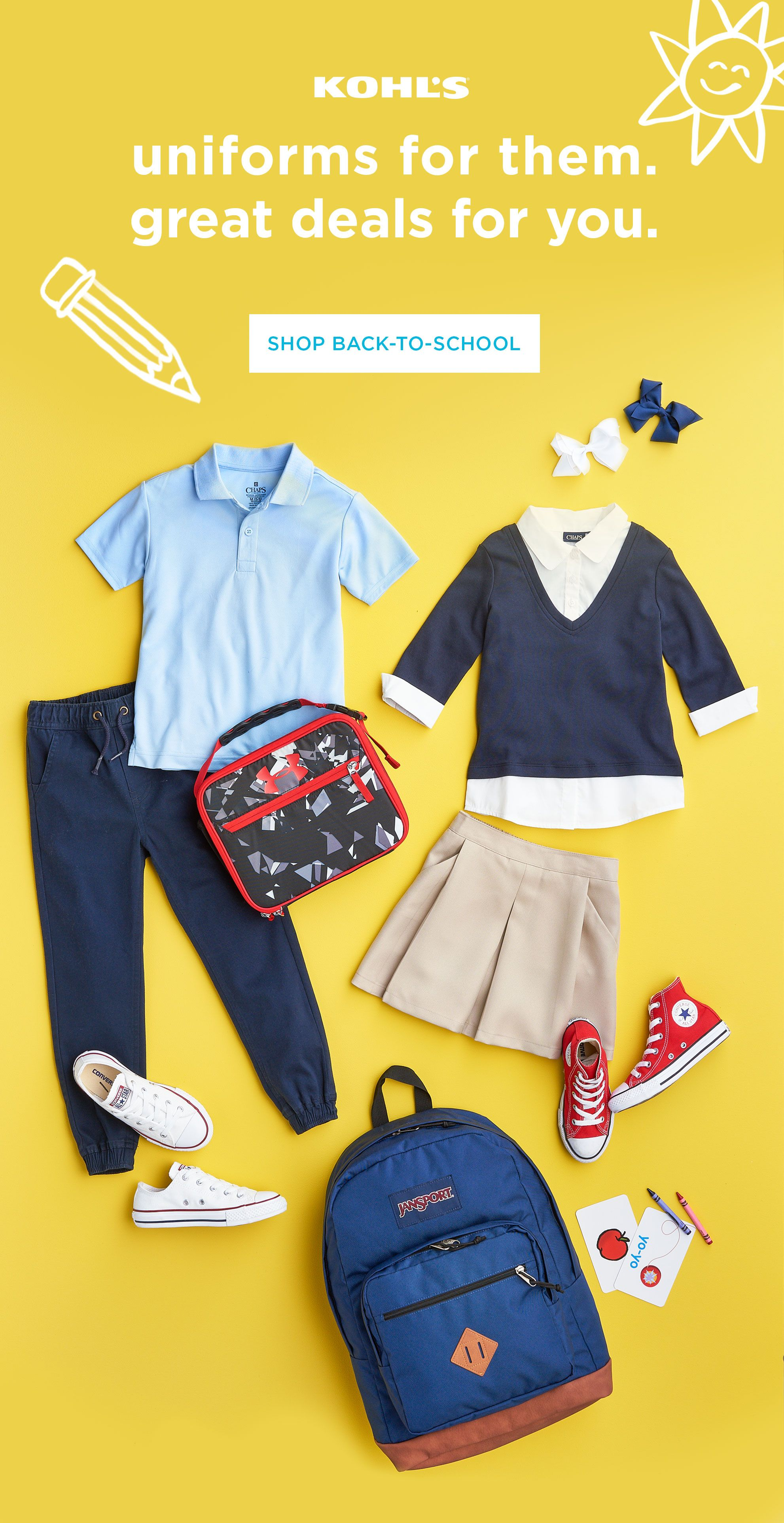7a6177852 Who says school uniforms have to be boring?! Stock up on basics like polos,  khakis, skirts and more, then let your kids layer on the style with  colorful ...