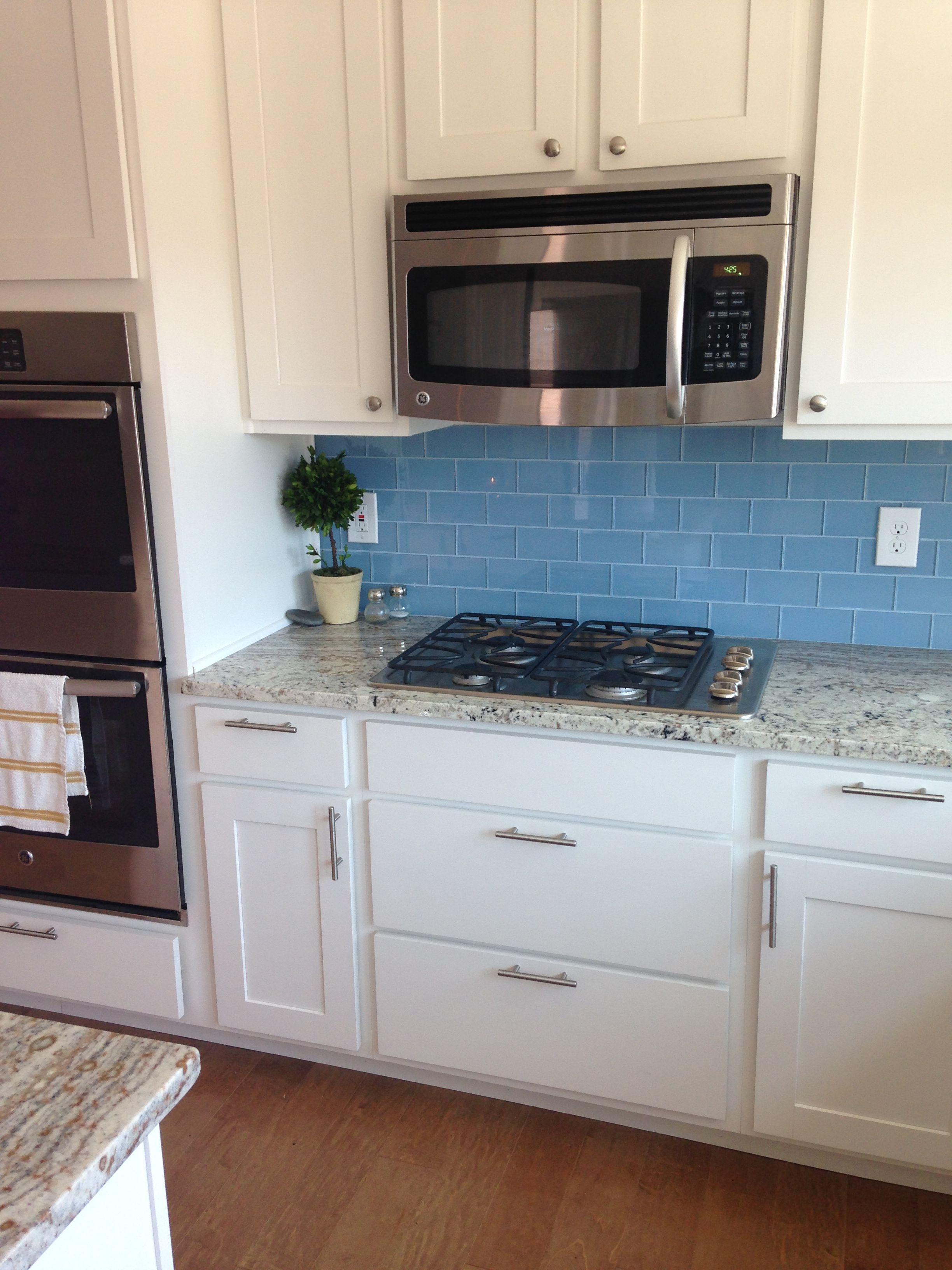 Sky Blue Glass Subway Tile Blue Backsplash Kitchen White Modern