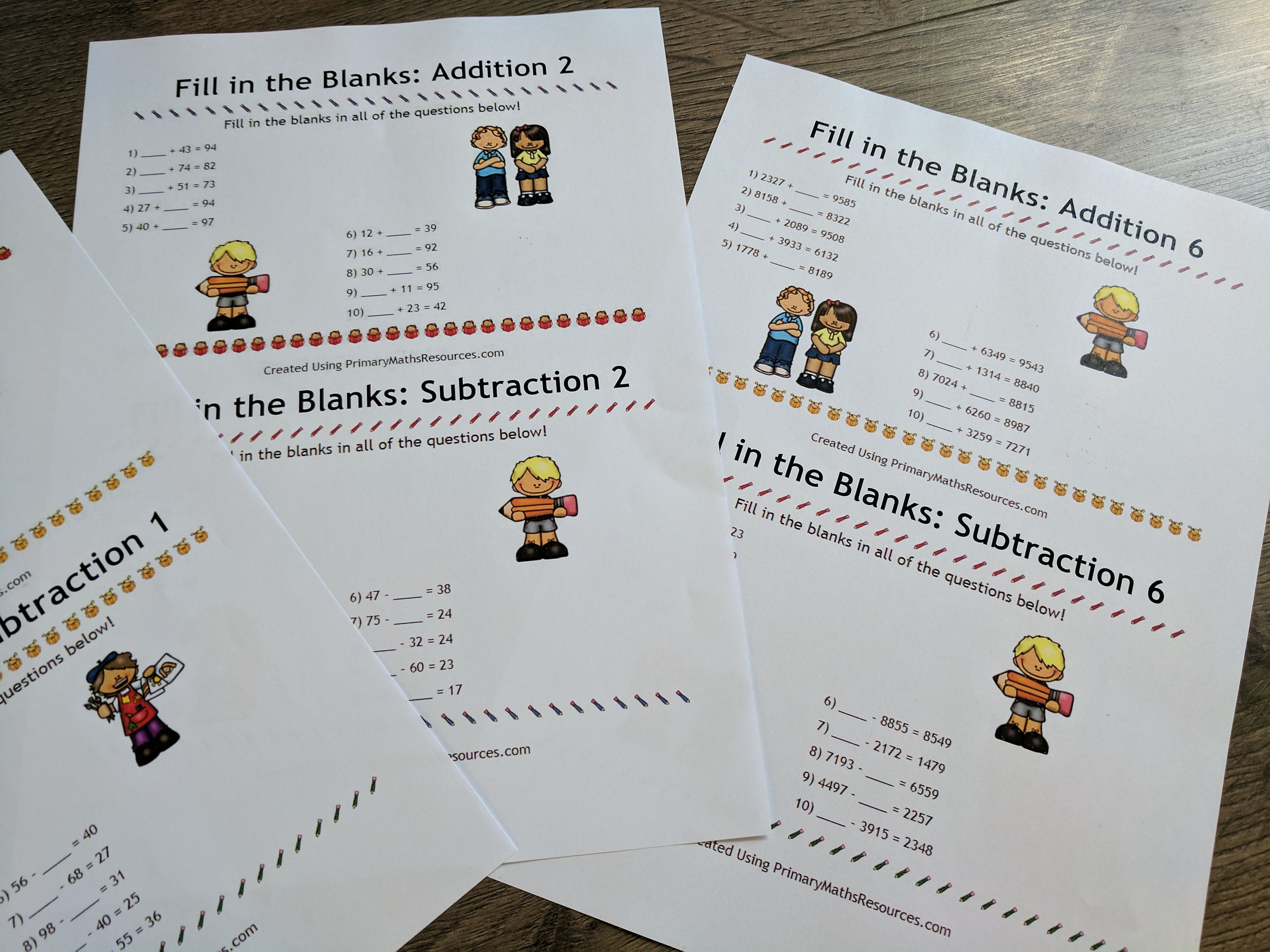 Fill In The Blanks Addition And Subtraction Worksheets