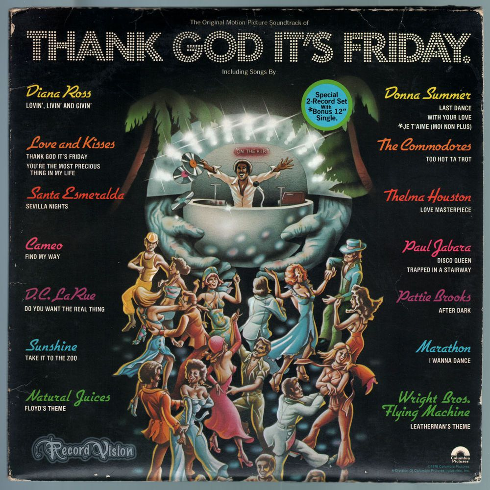 """#Thank #God #It's #Friday is a musical comedy film produced at the height of the #disco craze. The film features The #Commodores """"Too Hot to Trot"""" and #Donna #Summer's """"Last Dance"""", which won the Academy Award for Best Song in 1978 and peaked at #3 on the Hot 100. The film features an early performance by #JeffGoldblum and #DebraWinger. The #soubdtrack contains many popular #disco songs, with performers including #DonnaSummer and #DianaRoss. #ThankGodItsFriday #LastDance #HotTaTrot #Vinyl…"""