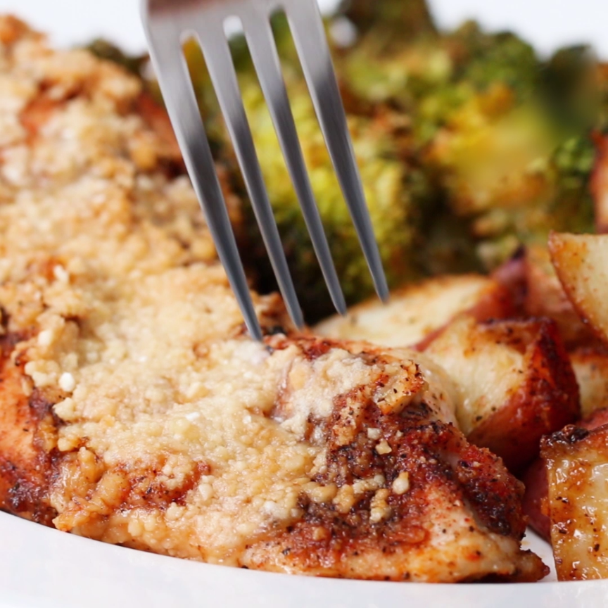 Photo of One Pan Garlic Parmesan Chicken And Vegetable Bake Recipe by Tasty