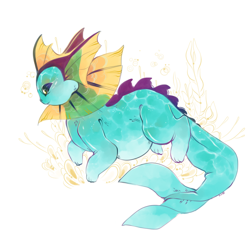 drawing a lil chubs vaporeon this morning because of sickness and