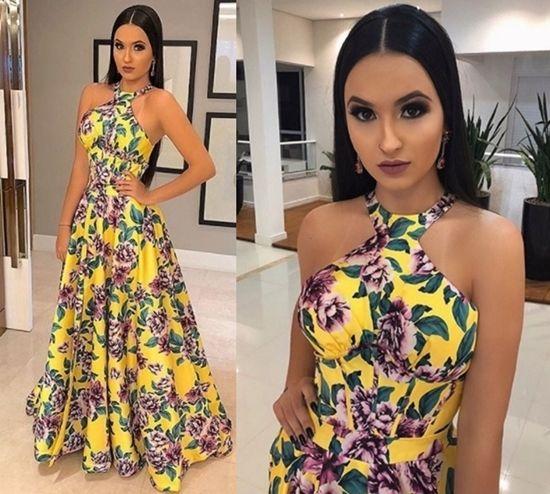 Vestido longo estampado tendencia 2018
