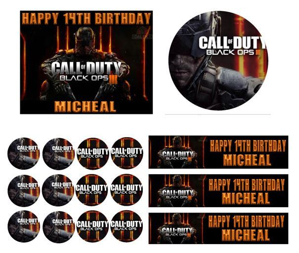 Call of duty black ops 3 birthday cake frosting edible image toppers call of duty black ops 3 birthday cake frosting edible image toppers cupcakes sides filmwisefo Image collections