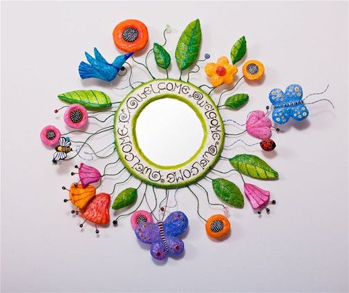 Paper mache mirror Welcome to the garden-,mirror,wire and beads,65cm wide