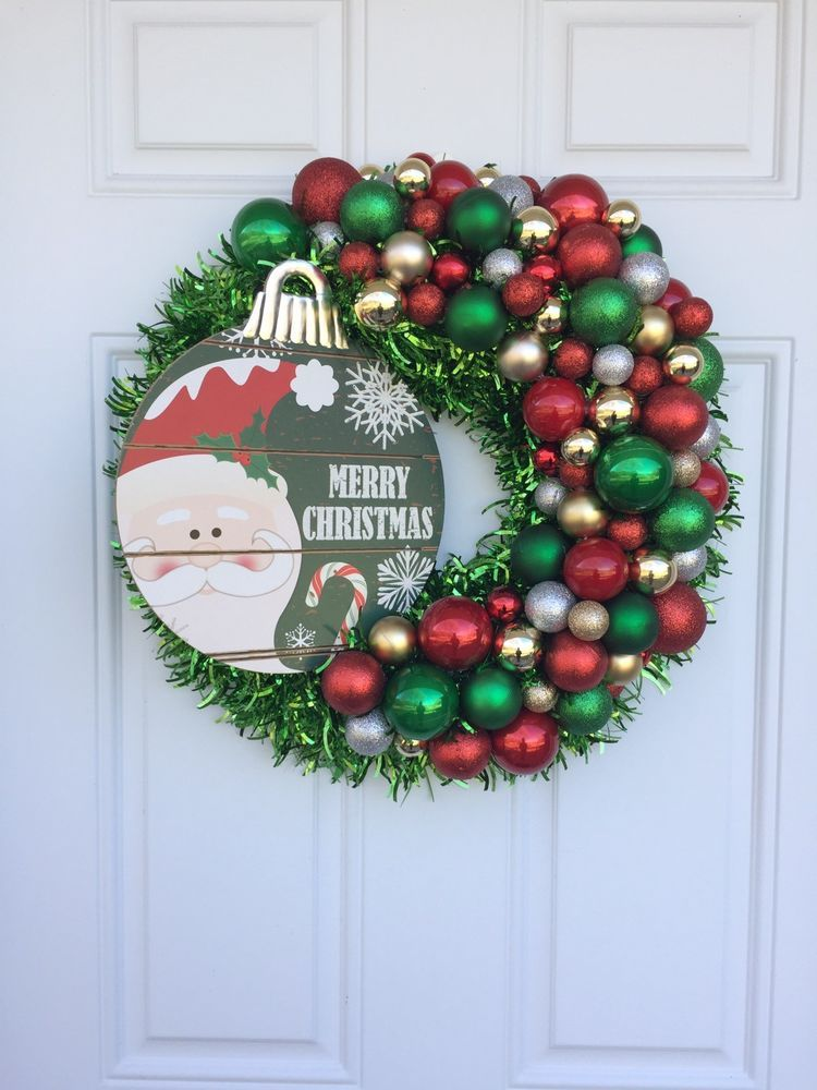 Christmas Wreath Tinsel Wreath Ornaments Home Holiday Door Decor Santa Ebay Christmas Wreaths Christmas Door Decorations Holiday