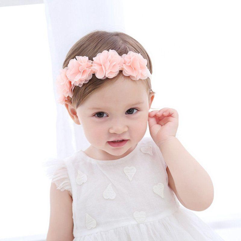 Soft  Princess Baby Girls Chiffon Flower Pink Ribbon Hair Bands Turban Headband