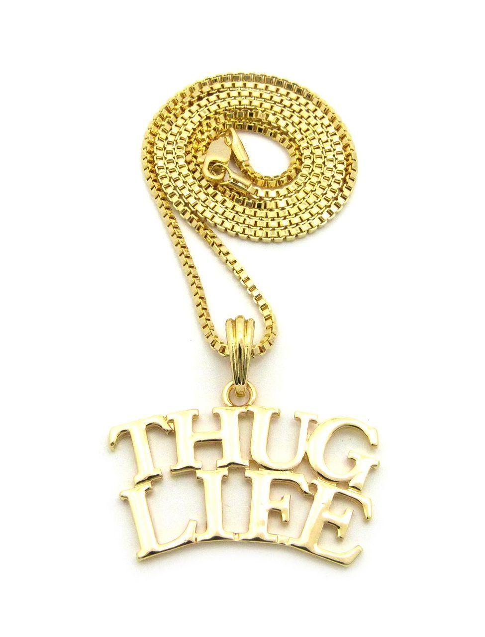 5b8d4596c7c270 Hip Hop Thug Life 14k Gold Pendant Chain - Bling Jewelz | Pendant ...
