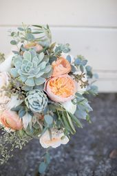 Peach juliet garden rose and sage green succulent and eucalyptus bouquet by Lily…