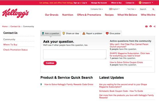 Kellogg S Has An Engage Feedback Form Widget A Product Filtered