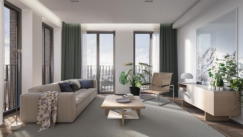 Beautiful new 1, 2 & 3 bed apartments for sale at King's Cross. Parkside living in Central London. Beautifully designed homes. Mid-century modern design. https://www.kingscross.co.uk/fenman-house