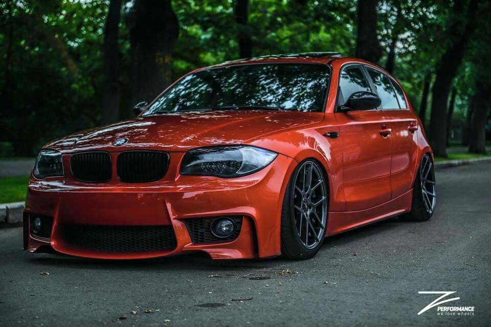 Bmw E87 1 Series M Coupe Orange Slammed Bmw Bmw 1 Series Bmw