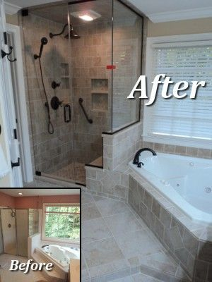 Bathroom remodel example like the corner tub and shower for Small bathroom upgrade ideas