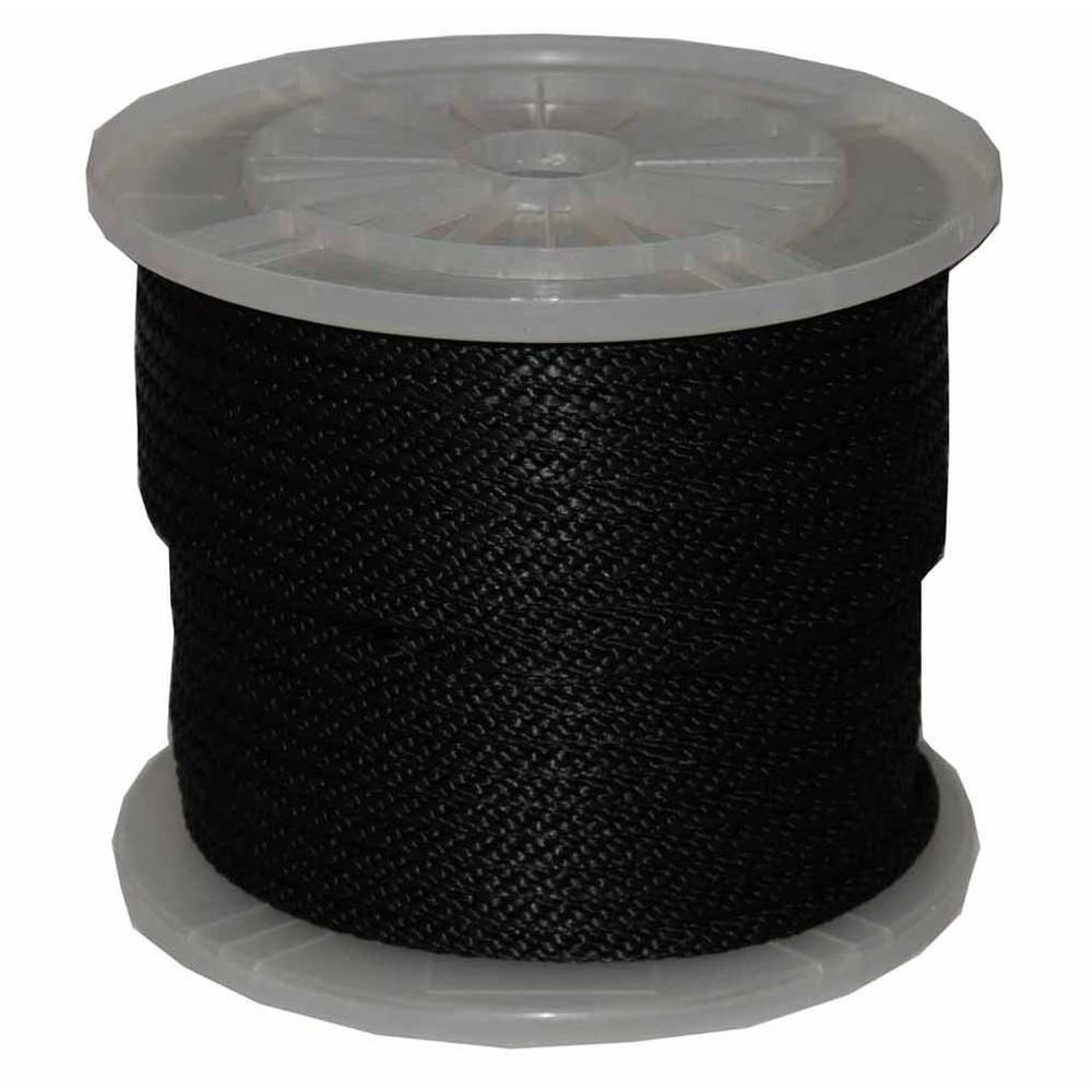 T W Evans Cordage 3 8 In X 300 Ft Solid Braid Multi Filament Polypropylene Derby Rope In Black 98324 Derby Black Rope Floating In Water