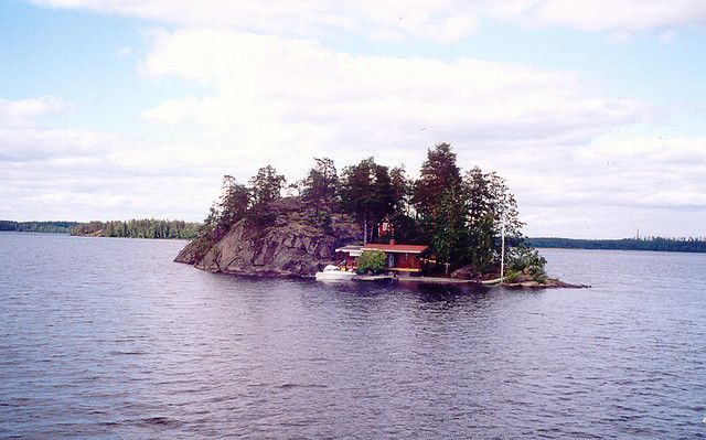 typical Finnish lake island, with holiday homes by wrightrkuk