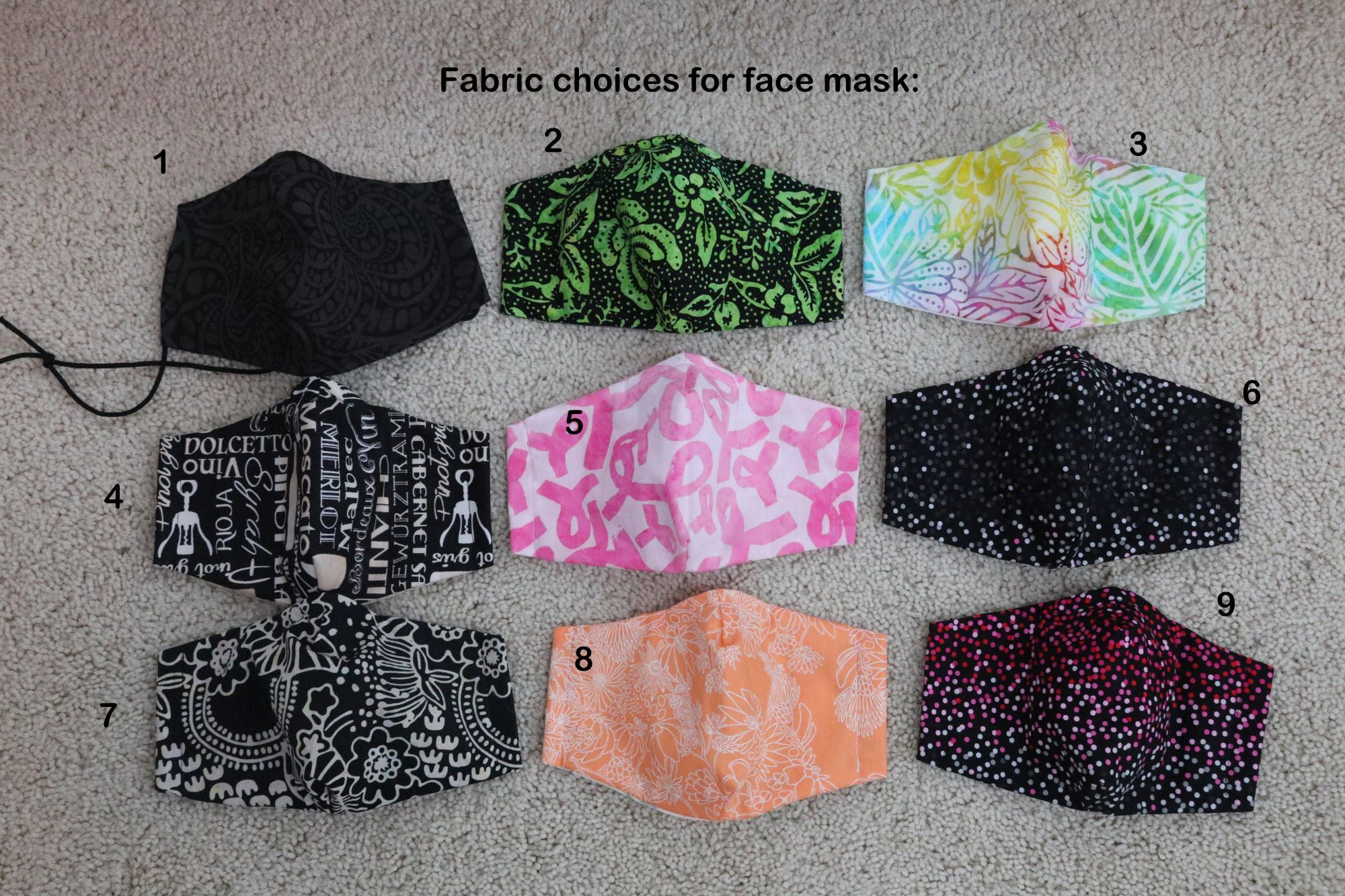 Washable Fabric Face Mask with Filter Pocket, 3 filters and Two Styles of Adjustable Elastic; Fashionable Fabric Head band, Mesh mask bag
