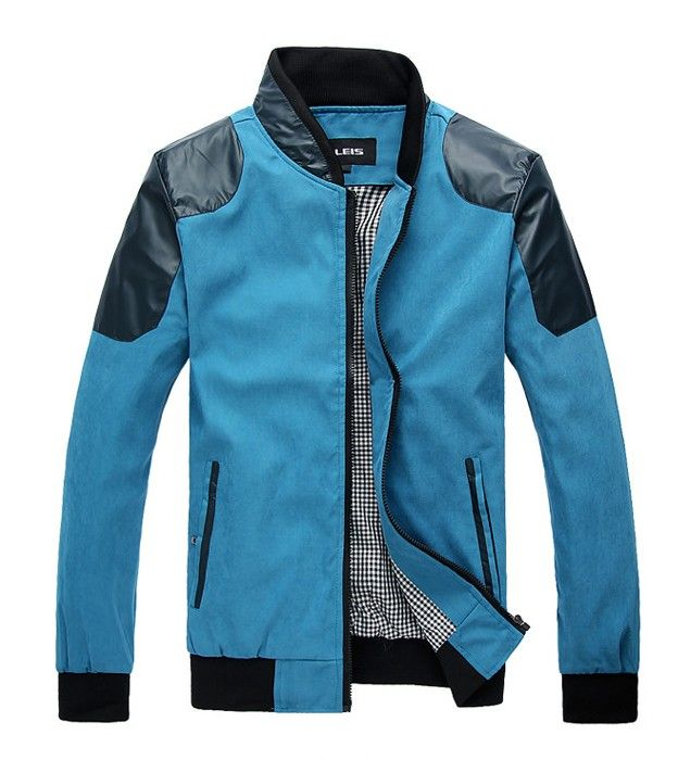 Men's #blue classic casual street style long sleeve zip up cotton #jacket, stand collar, 2 side pockets design, lined with 1 internal pocket.