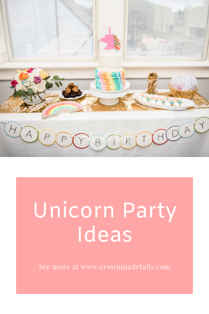 How to Throw the Ultimate Rainbow Unicorn Party - Rainbow unicorn birthday party, Rainbow theme party, Unicorn party, Rainbow unicorn party, Rainbow unicorn birthday, Unicorn theme party - Kate's rainbow unicorn party was epic! See our rainbow party ideas, including a DIY cake topper, stunning moden decor and fun party activities on the blog!