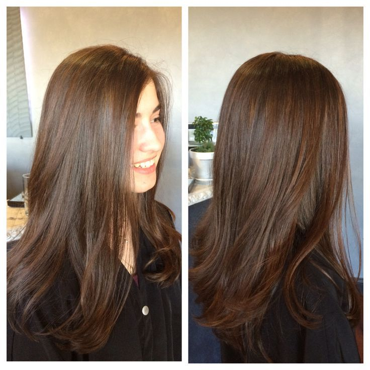 Soft, subtle, balayage highlights on virgin hair. First time color for this  young lady by Angela Rose.   Hair, Balayage highlights, Balayage