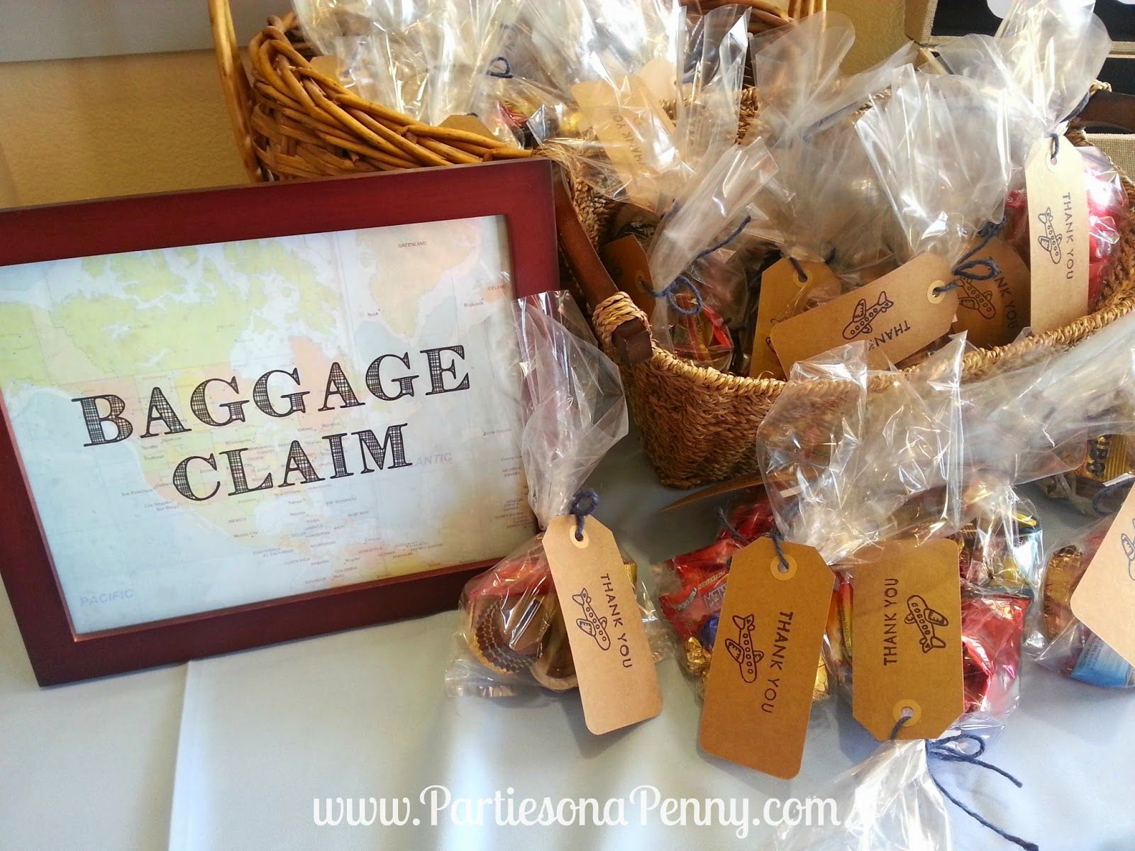 """Travel Themed Baby Shower """"Baggage Claim"""" favors area"""