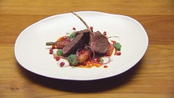 Spiced Pomegranate Glazed Lamb with Red Capsicum and Yoghurt Sauce, Roast Carrot and Fresh Pomegranate