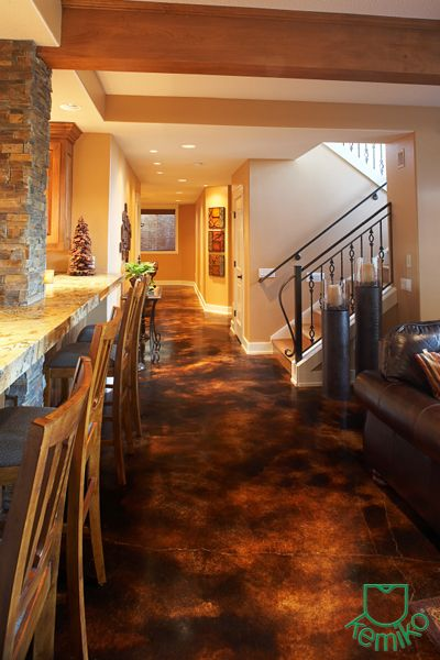 Polished concrete floor acid stained photo gallery - Concrete basement floor ideas ...