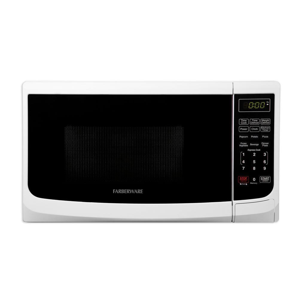 Farberware Classic 0 7 Cu Ft 700 Watt Countertop Microwave Oven In White Countertop Microwave Countertop Microwave Oven Microwave