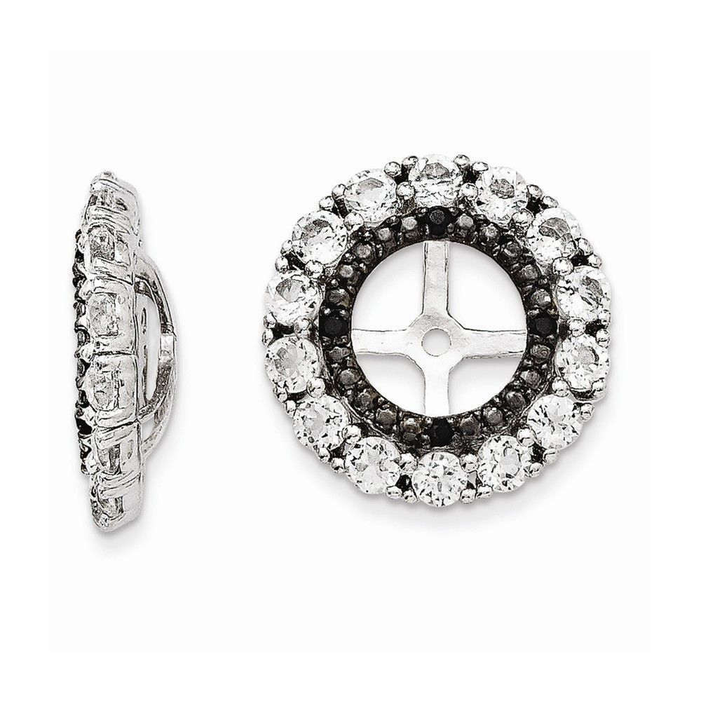 925 Sterling Silver Rhodium Diamond and Black Sapphire Earring Jacket