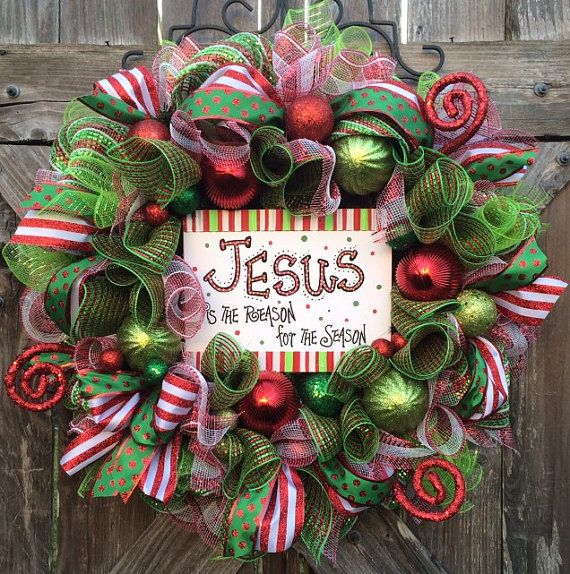 Photo of Christmas Wreath, Christmas Mesh Wreath, Holiday Wreath, Jesus is the Reason for the Season