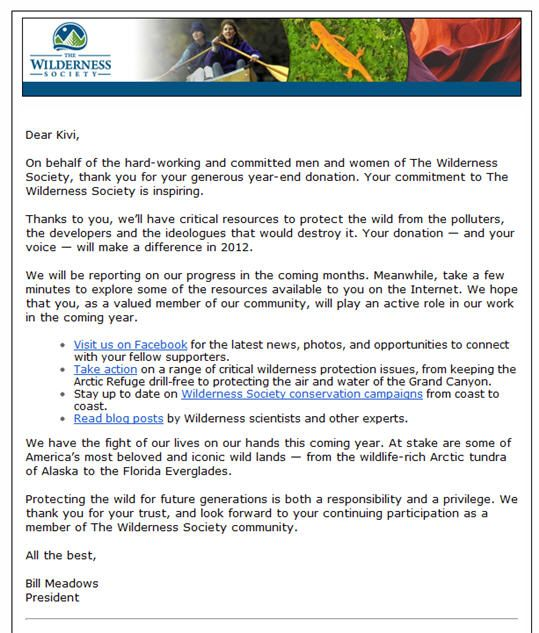 Kivi shared this amazing thank you letter from The Wilderness - non profit thank you letter sample