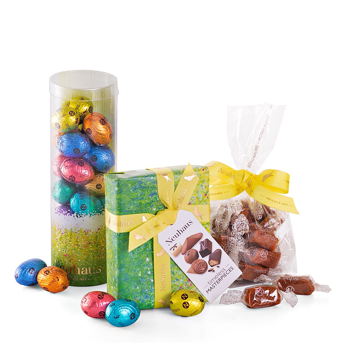 Make springtime more delicious with this wonderful trio of neuhaus buy neuhaus chocolate easter treats trio for delivery in belgium giftsforeurope is the leading gift provider in europe since negle Choice Image