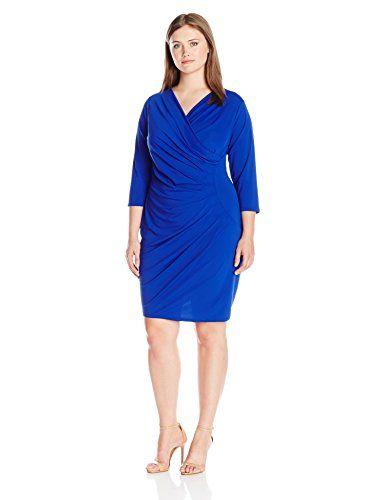 Adrianna Papell Women's Plus-Size V-Neck Three-Quarter Sleeve Faux-Wrap Dress